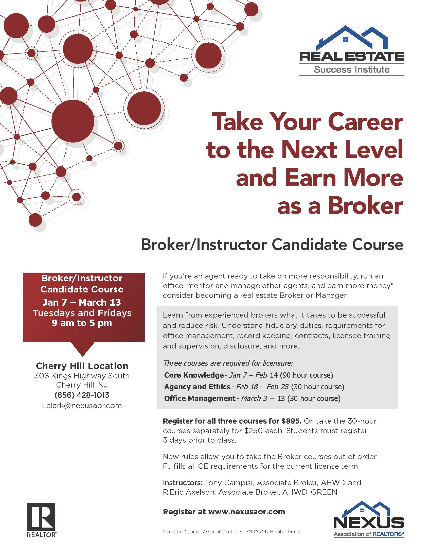 NEXUS Broker Course Flyer Jan. March 12 2020